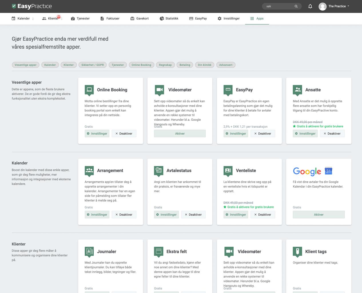 Screenshot av app-siden til EasyPractice