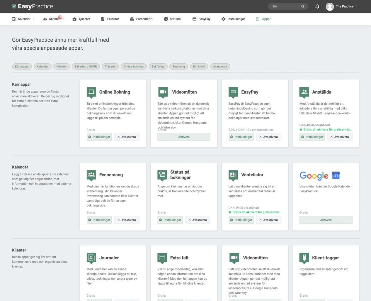 Bild på några av EasyPractices appar