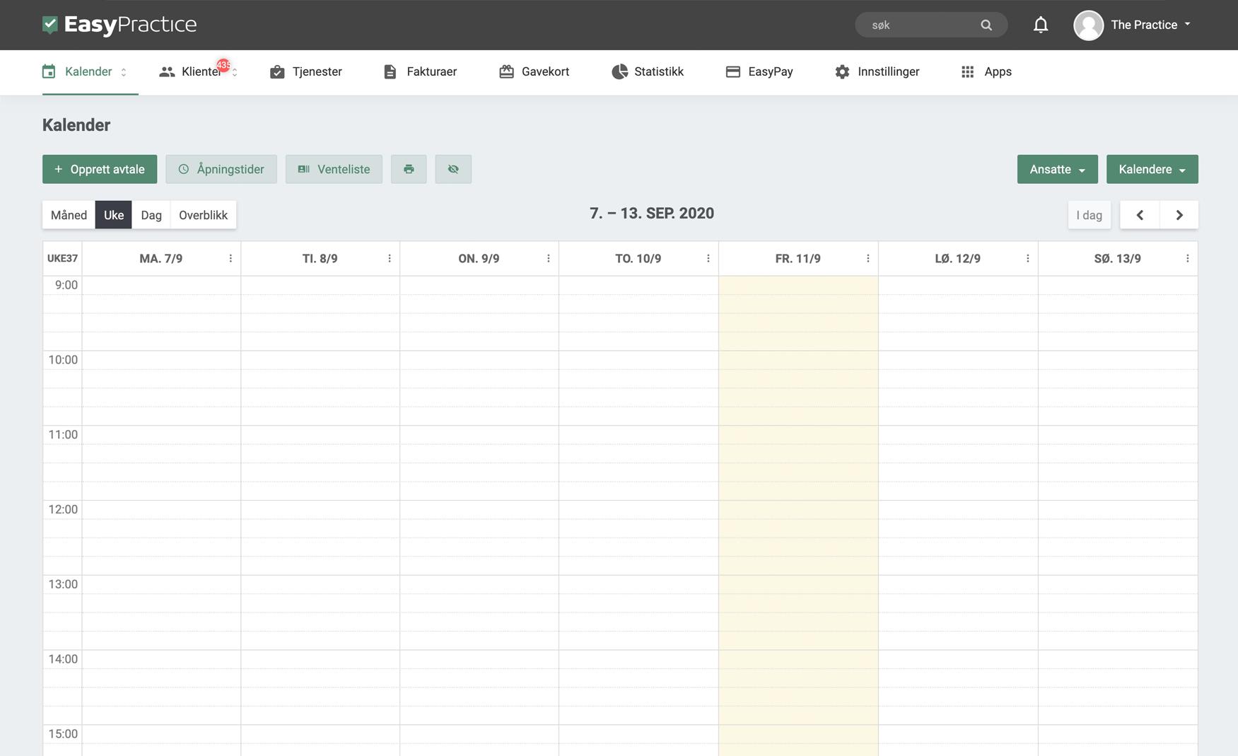 Screenshot av kalendersiden til EasyPractice