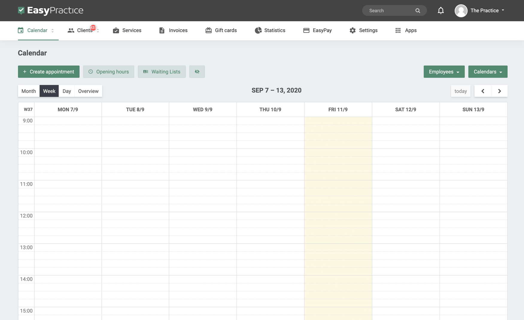 Screenshot of EasyPractice calendar