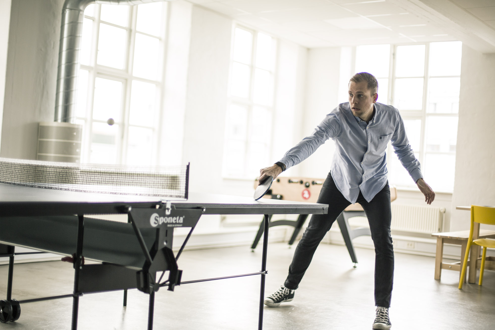 Founder of EasyPractice playing table tennis