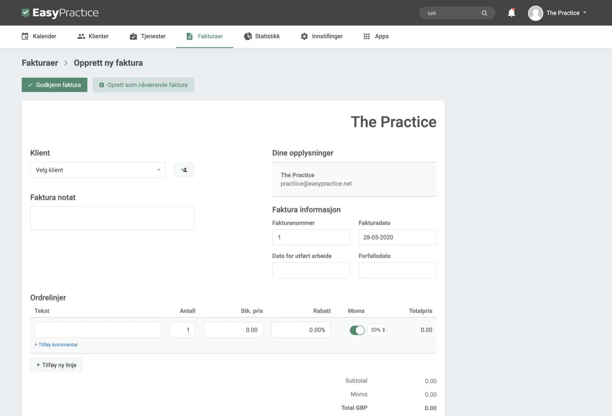 Screenshot av fakturering fra systemet
