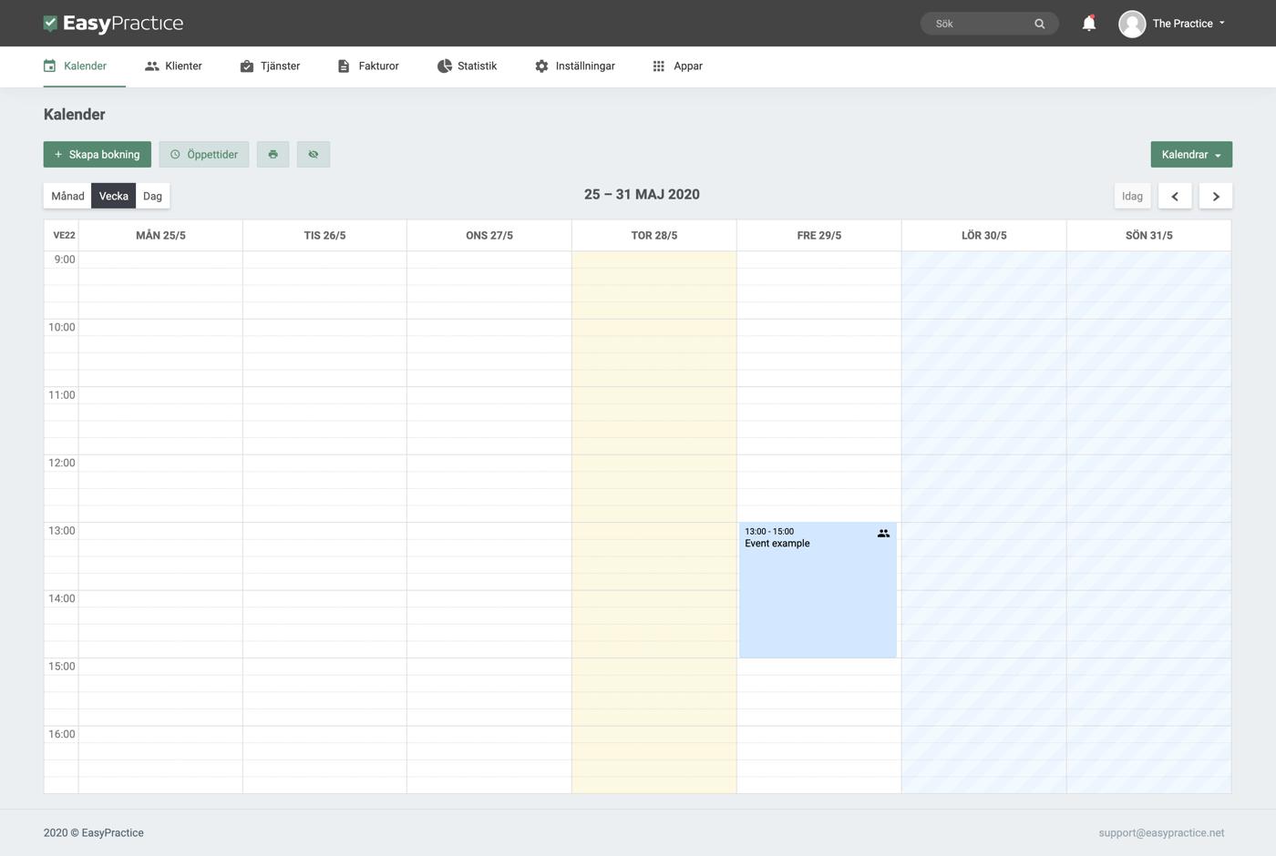 EasyPractice vecko-kalendern med en bokning