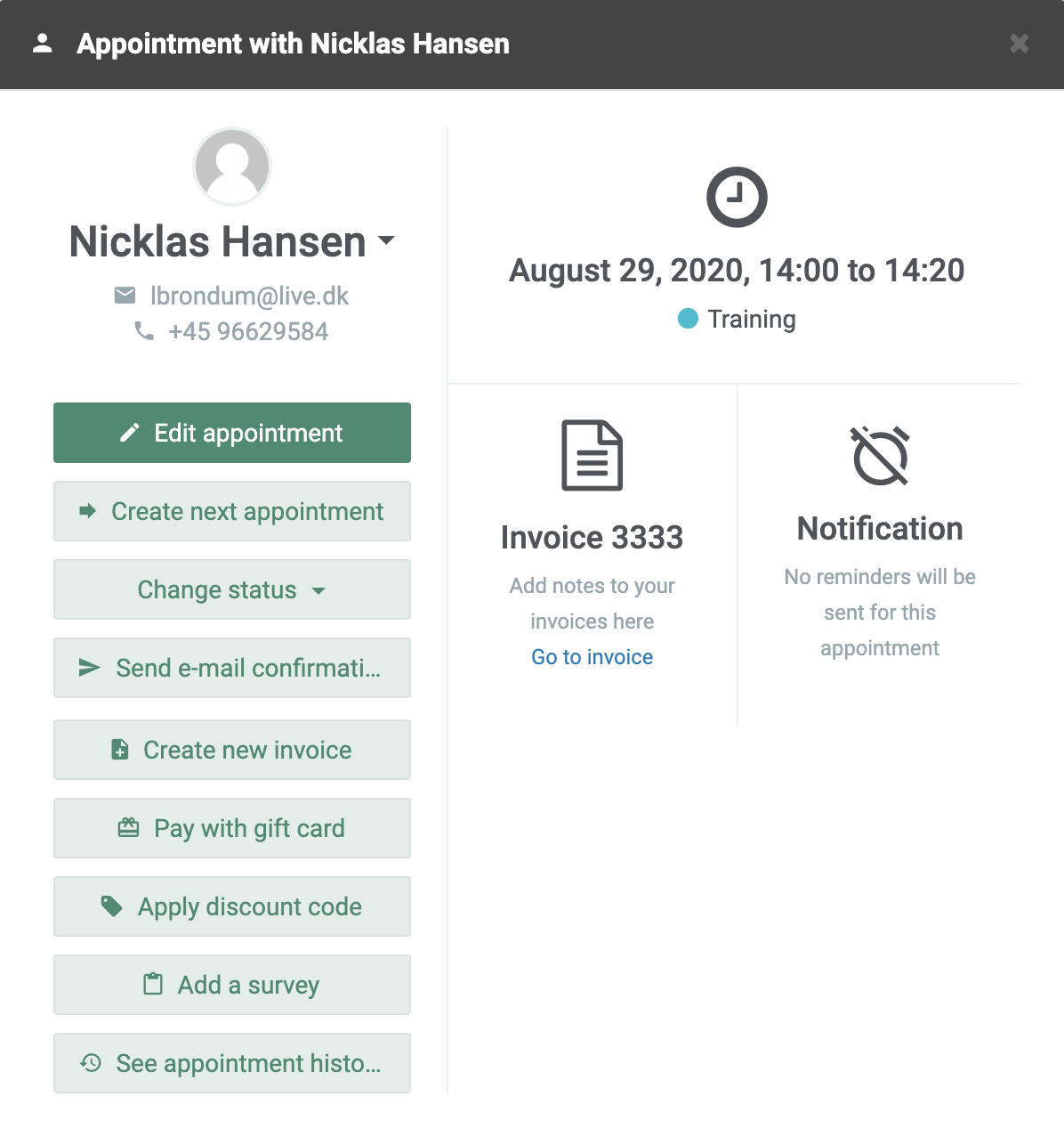 Appointment information in the system