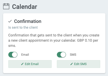 Confirmation email and SMS