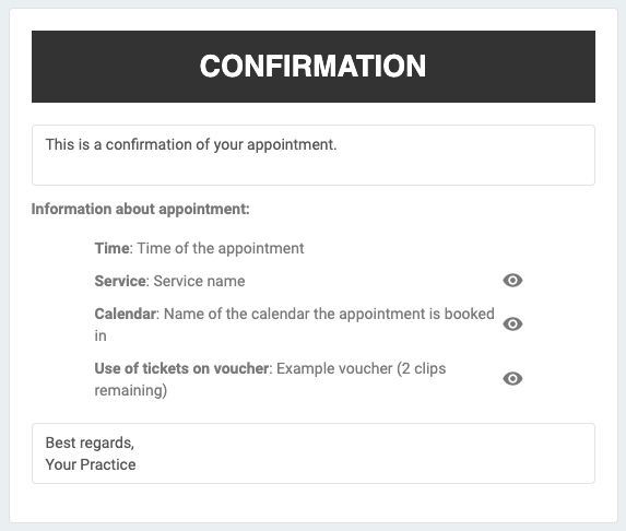 Confirmation email editing