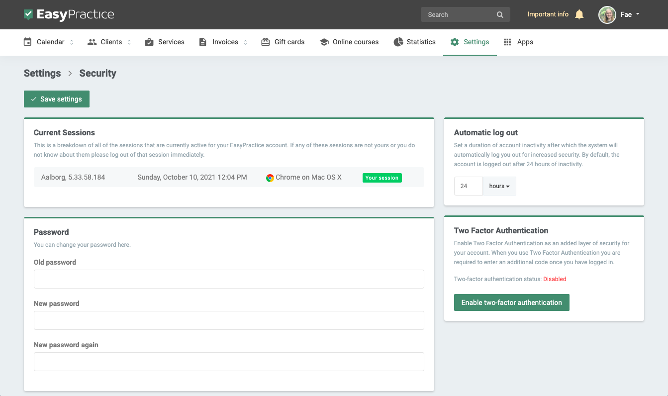 Screenshot of security page